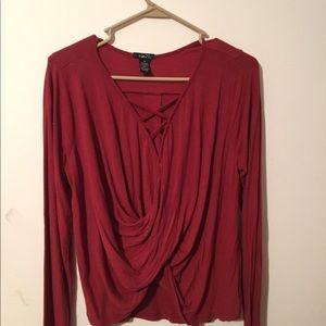 Burgundy twisted shirt